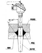 套管式热电阻在管道上的安装示意图